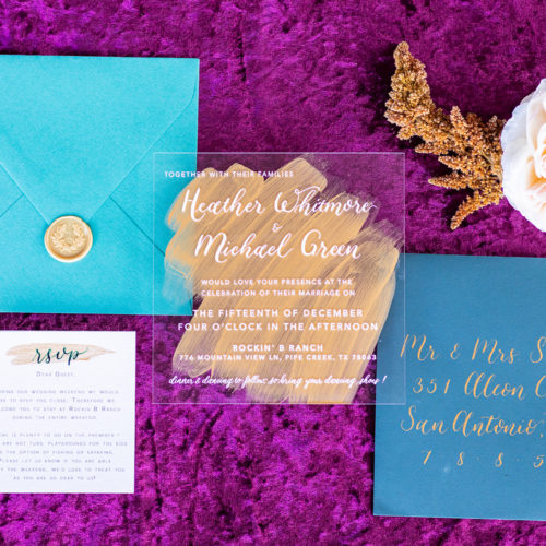 Acrylic Invitation with Jewel Tone Accents, Gold, Calligraphy and Wax Seal in San Antonio by CalliRosa