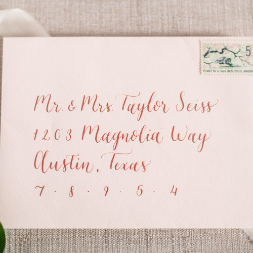 Blush Envelope with Rose Gold Calligraphy in San Antonio by CalliRosa
