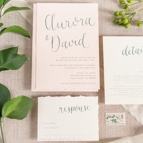 Blush Fine Art Invitation with Green Calligraphy and Handtorn Edges in San Antonio by CalliRosa