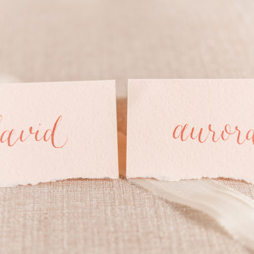 Blush deckled Edge Place Cards with Rose Gold Calligraphy in San Antonio By CalliRosa