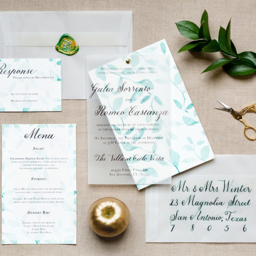 Botanic Organic Green Italian Inspired Invitation Suite, With Vellum Overlay and Green Calligraphy in San Antonio by CalliRosa