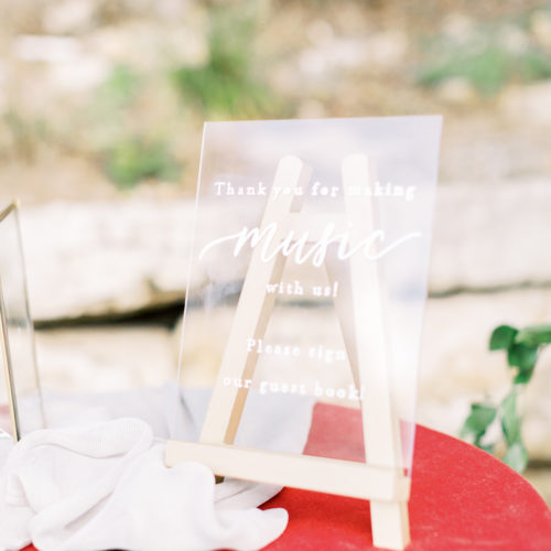 Clear Acrylic Guestbook Sign at Remi's Ridge in Spring Branch by CalliRosa