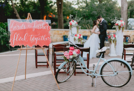 Coral Quote Sign for Flamingo Inspired Wedding at San Antonio Zoo by CalliRosa