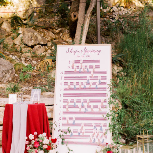 Custom Escort Card Wall at Music Themed Wedding at Remi's Ridge in Spring Branch by CalliRosa