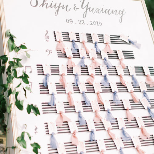 Custom Escort Card Wall with Watercolor and Calligraphy Handtorn Escort Cards at Music Themed Wedding at Remi's Ridge in Spring Branch by CalliRosa
