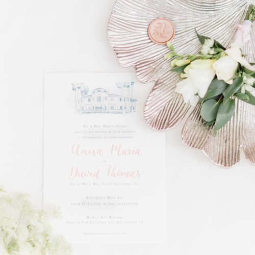 Fine Art Invitation with Blush Accents and Venue Illustration at McNay in San Antonio by CalliRosa