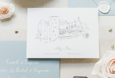 Fine Art Save The Date with Custom Venue Illustration and Calligraphy for a Spain Destination Wedding by CalliRosa