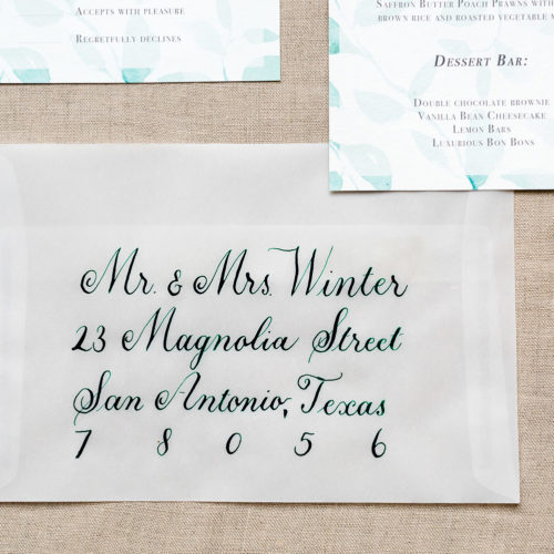 Forest Green Calligraphy on Vellum Envelope in San Antonio by CalliRosa