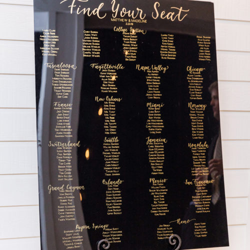 Formal Black and Gold Seating Chart with Calligraphy At Kendall Plantation by CalliRosa