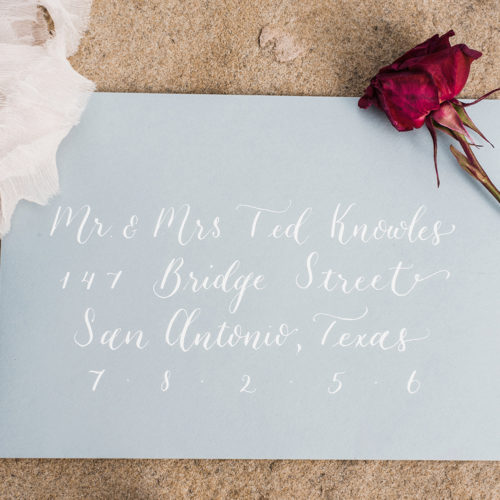 Grey Envelope with White Calligraphy at La Cantera Resort & Spa by CalliRosa