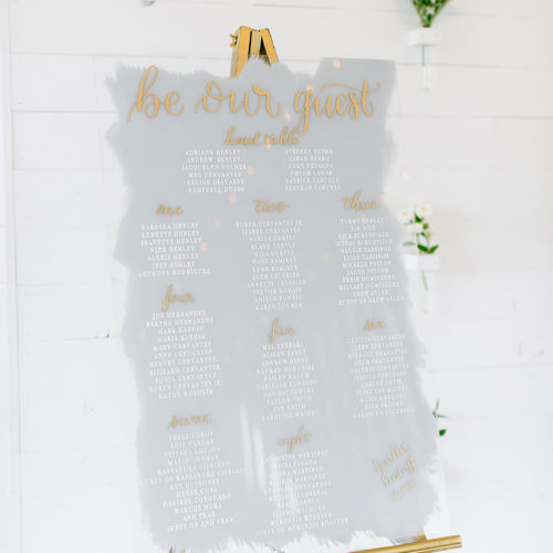 Grey White and Gold Acrylic Seating Chart with Calligraphy at Prospect House Austin by CalliRosa
