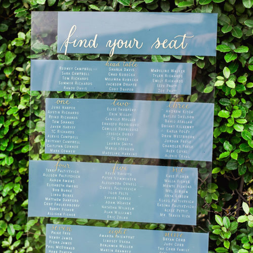 Grey White and Gold Acrylic Seating Chart with Calligraphy in San Antonio by CalliRosa