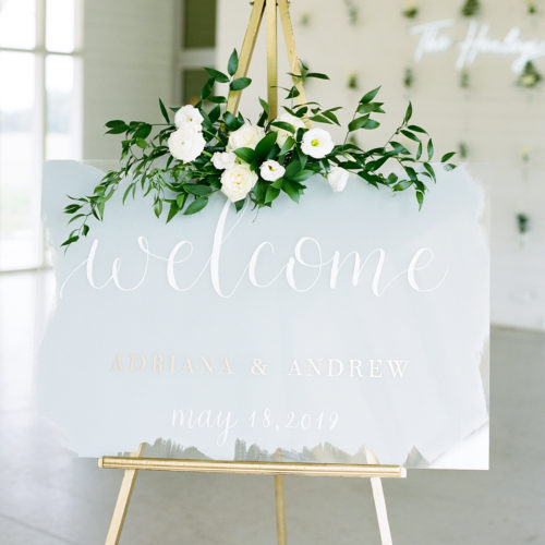 Grey White and Gold Acrylic Welcome Sign with Calligraphy at Prospect House Austin by CalliRosa