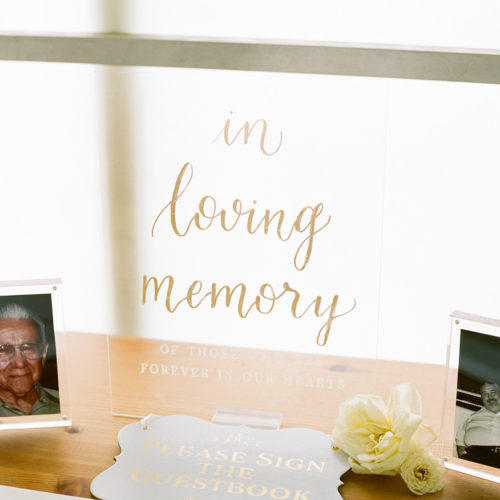In Loving Memory Table Sign on Acrylic at Prospect House in Austin by CalliRosa