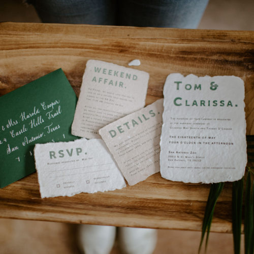 Jungle Inspired Green and White Invitation suite with Calligraphy on Handmade Paper for San Antonio Zoo Wedding by CallIRosa