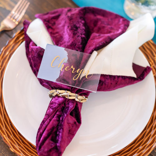 Lavender and Gold Acrylic Place Card at Rockin B Ranch by CalliRosa