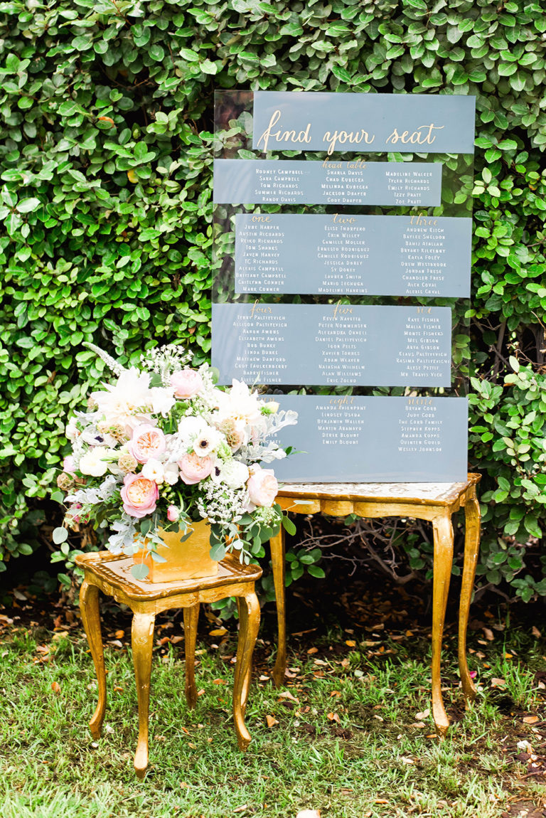 Layers Of Luxe Feature CalliRosa acrylic seating chart grey and gold