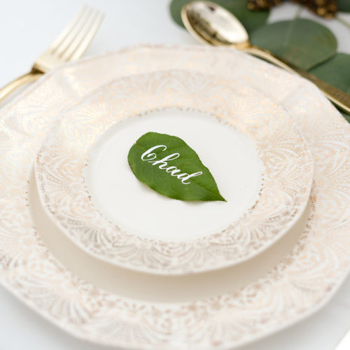 Leaf Botanical Place Card with White Calligraphy in San Antonio by CalliRosa