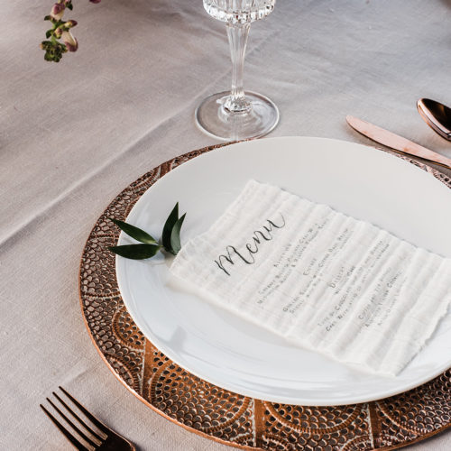 Linen Fabric Menu at La Cantera Resort and Spa by CallIRosa