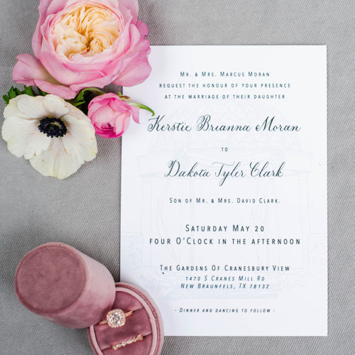 Meet Joe Black Inspired Black and White Invitation Suite with Venue Illustration and Custom Calligraphy in San Antonio by CalliRosa
