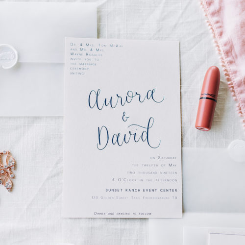 Minimalistic Invitation with Blush Accents, Vellum Details,Wax Seal and Calligraphy At Sunset Ranch Event Center by CalliRosa