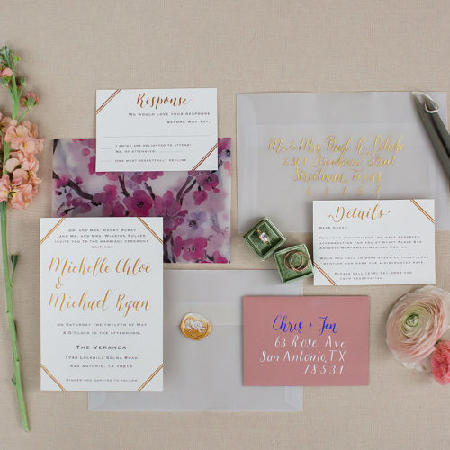 Modern Minimalistic Art Deco Inspired Invitation With Gold Accents in San Antonio by CalliRosa