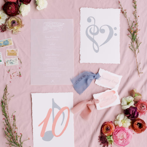 Vellum Menu Vintage Inspired Blush and Dusty Blue Music Invitation Suite at Remi's Ridge in Spring Branch by CalliRosa