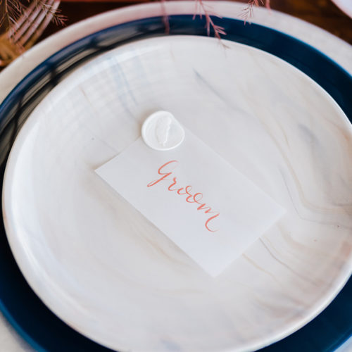Vellum Placecard with Coral Calligraphy Wax Seal at Sunset Ranch Event Center by CalliRosa