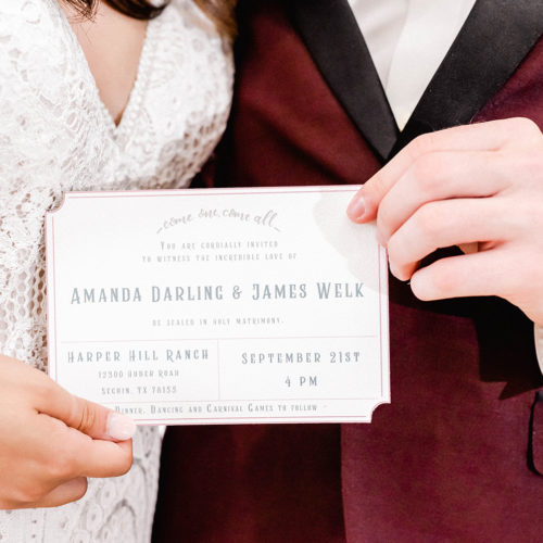 Vintage Circus Inspired Invitation with Burgundy Accents at Harper Hill Ranch by Callirosa