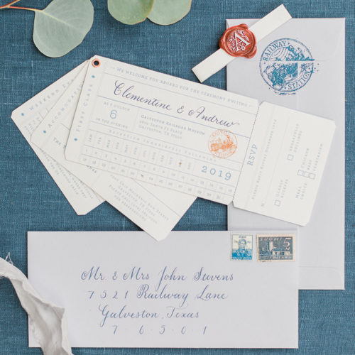 Vintage Orient Express Inspired Invitation Suite at Railroad Museum in San Antonio by CallIRosa