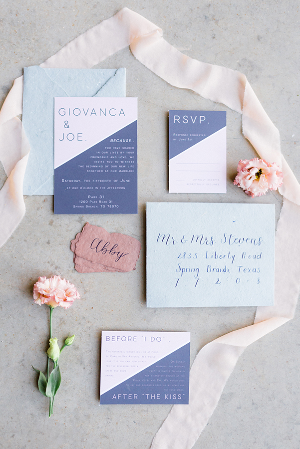 Wedding Chicks Featured CalliRosa Color Block Invitation Suite Lavender and Blush