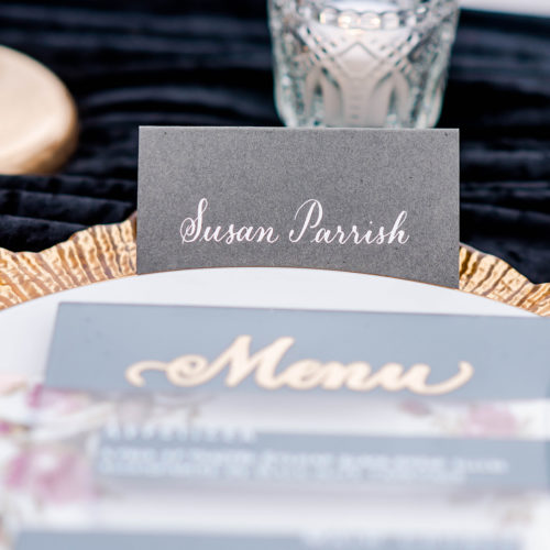 White Calligraphy on Grey Place Card in San Antonio by CalliRosa
