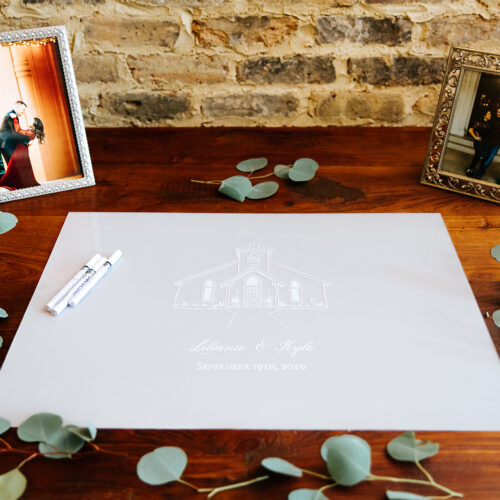 Acrylic Guest Book Sign with Chandelier of Gruene Venue Illustration in New Braunfels Texas by CalliRosa