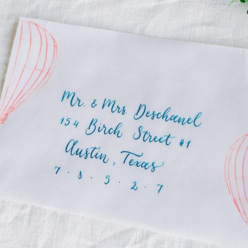 Air Balloon Calligraphy Invitation Envelope Sunset Ranch Event Center Fredericksburg Texas CalliRosa