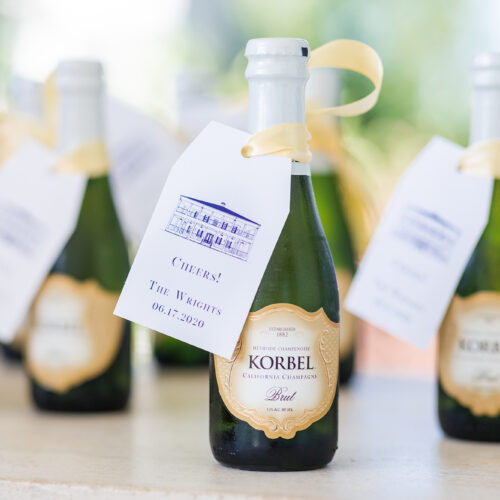 Champagne Tags with Kendall Point venue illustration in Boerne Texas by CalliRosa