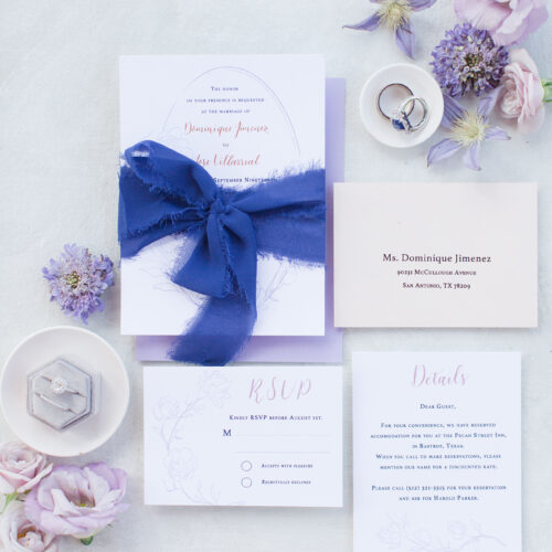 Cool Blue and Lavender Modern Fine Art Invitation Suite with Calligraphy at Shiraz Gardens in Austin Texas by CalliRosa