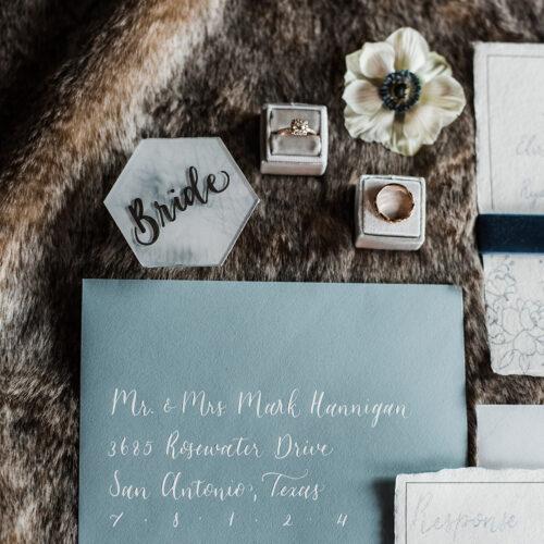 Dusty Blue Envelope with White Calligraphy in San Antonio Texas by CalliRosa