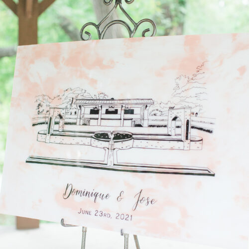 Dusty Pink and White Marbled Welcome Sign with Shiraz Gardens Venue Illustration on Copper Stand with Black Calligraphy in Austin Texas by CalliRosa