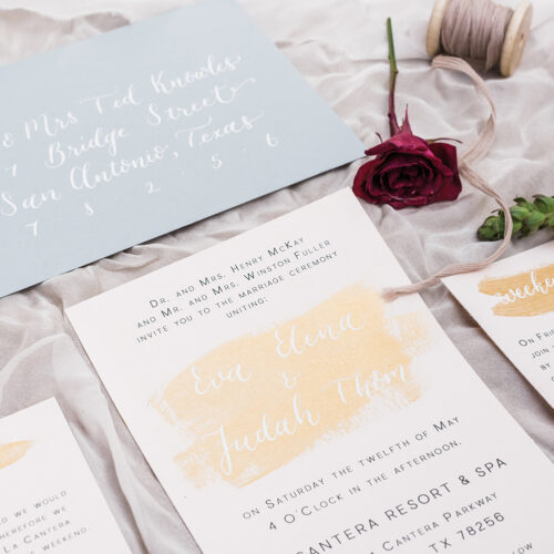 Fine Art Invitation Suite with Blush and Grey Tones, Gold Accent Brush Strokes and Calligraphy at La Cantera Resort & Spa by CalliRosa