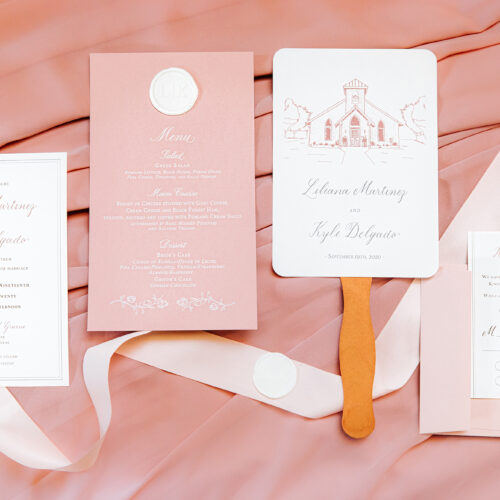 Formal Minimalistic Dusty Rose Invitation Suite With White Wax Seal at Chandelier of Gruene in New Braunfels Texas by CalliRosa