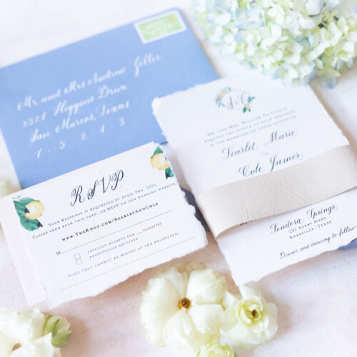 Fresh Spring Inspired Fine Art Invitation Suite on Handmade Paper with Calligraphy and Leather Belly Band at Sendera Springs in Kerrville Texas by CalliRosa