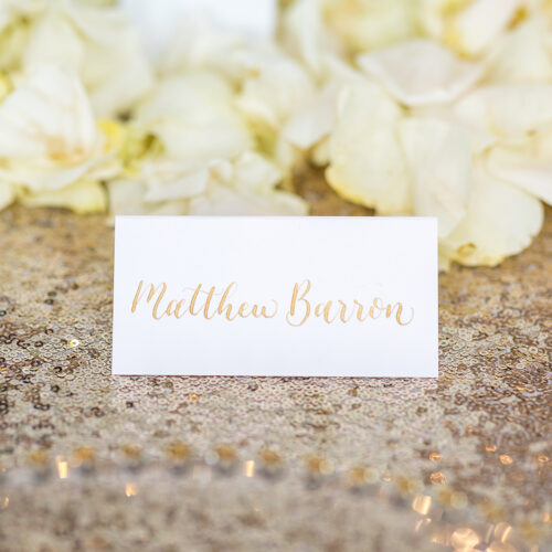 Gold on White Place Card at Kendall Point in Boerne by CalliRosa