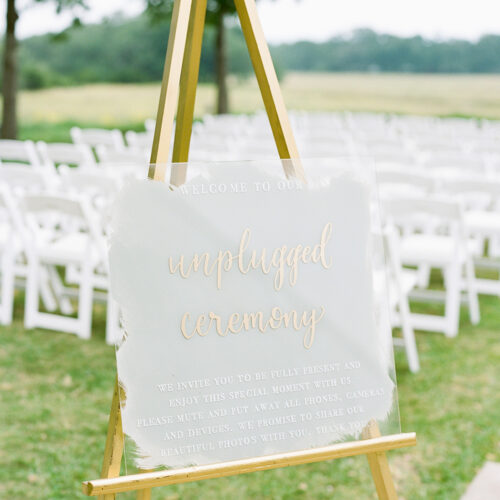Grey White and Gold Acrylic Unplugged Sign with Calligraphy at Prospect House Austin by CalliRosa