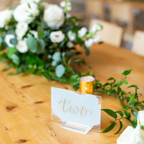 Grey and Gold Acrylic Table Number with Calligraphy in San Antonio by CalliRosa