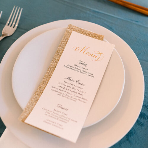 Japan Inspired Menu Blush and Dusty Blue with Cane Paper at Kendall Point in Boerne Texas by CalliRosa