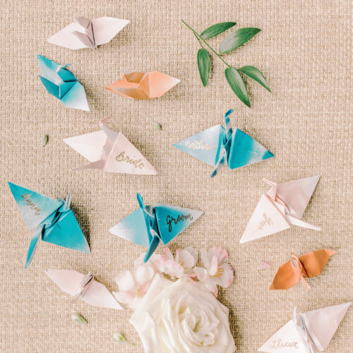 Japanese Folded Crane Escort Place Cards Kendall Point Boerne Texas CalliRosa