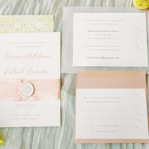 Minimalistic Invitation With Soft Spring Colors at Prospect House in Austin by CalliRosa