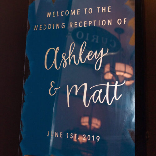 Navy Blue and Gold Welcome Sign With Calligraphy at Hotel Emma San Antonio by CalliRosa