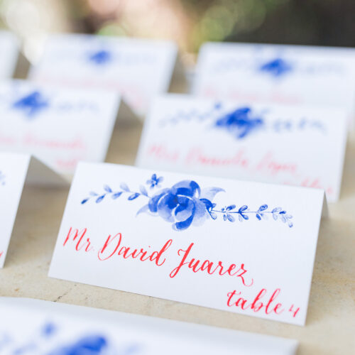 Red Calligraphy Antique China Inspired Escort Place Card Kendall Point Boerne Texas CalliRosa 3