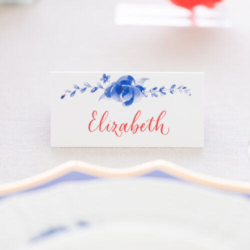Red Calligraphy Antique China Inspired Escort Place Card Kendall Point Boerne Texas CalliRosa